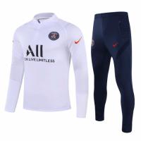 20/21 PSG White Zipper Sweat Shirt Kit(Top+Trouser)