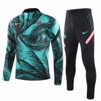 20/21 Barcelona Green Zipper Sweat Shirt Kit(Top+Trouser)