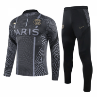 20/21 PSG Black Zipper Sweat Shirt Kit(Top+Trouser)