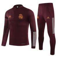 20/21 Real Madrid Dark Red Zipper Sweat Shirt Kit(Top+Trouser)