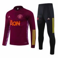 20/21 Manchester United Red Zipper Sweat Shirt Kit(Top+Trouser)
