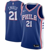 Men's Philadelphia 76ers Joel Embiid No.21 Bule Swingman Jersey - Icon Edition