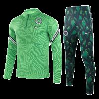 2021 Nigeria Light Green Zipper Sweat Shirt Kit(Top+Trouser)