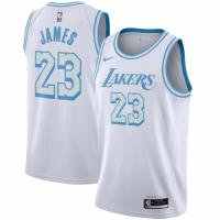 Men's Los Angeles Lakers LeBron James #23 Nike White 2020/21 Swingman Jersey - City Edition