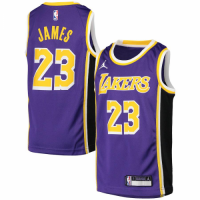 Men's Los Angeles Lakers LeBron James 23 Jordan Brand Purple 20/21 Swingman Jersey Statement Edition