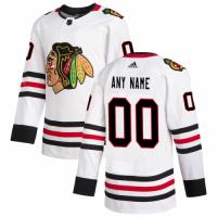 Men's Chicago Blackhawks adidas White Away Authentic Custom Jersey