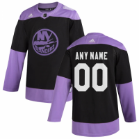Men's New York Islanders adidas Black Hockey Fights Cancer Custom Practice Jersey