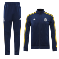 20/21 Real Madrid Navy&Yellow High Neck Collar Training Kit(Jacket+Trouser)