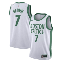 Men's Boston Celtics Jaylen Brown No.7 Nike Kelly White 202021 Swingman Jersey - City Edition