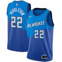 Men's Milwaukee Bucks Khris Middleton #22 Nike Blue 2020/21 Swingman Player Jersey – City Edition