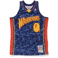 BAPE x Mitchell & Ness Warriors ABC Navy Basketball Swingman Jersey
