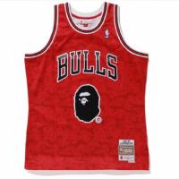 BAPE x Mitchell & Ness Bulls ABC Red Basketball Swingman Jersey