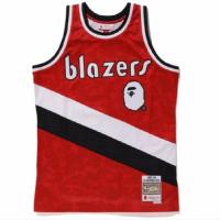 BAPE x Mitchell & Ness Blazers ABC Red Basketball Swingman Jersey