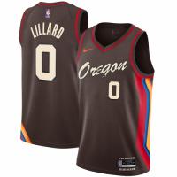 Men's Portland Trail Blazers Damian Lillard #0 Nike Brown 20/21 Swingman Player Jersey–City Edition