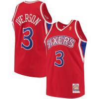 Men's Philadelphia 76ers Allen Iverson #3 Mitchell & Ness Red Hardwood Classics Jersey
