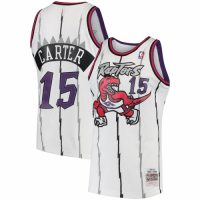 Men's Toronto Raptors Vince Carter #15 Mitchell&Ness White 1998-99 Hardwood Classics Swingman Jersey