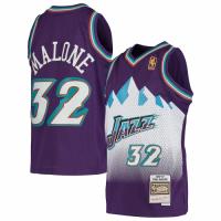 Men's Utah Jazz Karl Malone #32 Mitchell & Ness Purple 91-92 Hardwood Classics Throwback Jersey