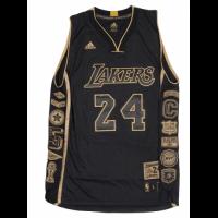 Men's Los Angeles Lakers Kobe Bryant #24 Black Commemorative Career Achievement Jersey