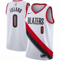 Men's Portland Trail Blazers Damian Lillard #0 Nike White Swingman Jersey - Association Edition