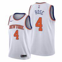 Men's New York Knicks Derrick Rose #4 Nike White 202021 Swingman Jersey - Association Edition