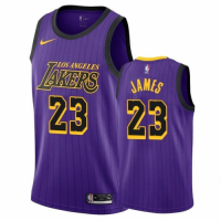 Men's Los Angeles Lakers LeBron James #23 Nike Purple 2018/19 Swingman Jersey - City Edition