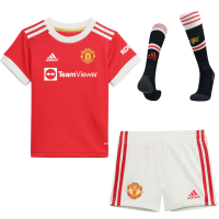 Manchester United Kid's Soccer Jersey Home Whole Kit(Jersey+Short+Socks) Replica 2021/22