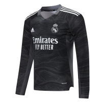 Real Madrid Soccer Jersey Goalkeeper Long Sleeve Black Replica 2021/22