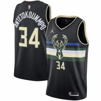 Men's Milwaukee Bucks Antetokounmpo #34 Jordan Brand Black 20/21 Swingman Jersey - Statement Edition