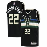 Men's Milwaukee Bucks Middleton #22 Jordan Brand Black 20/21 Swingman Jersey - Statement Edition