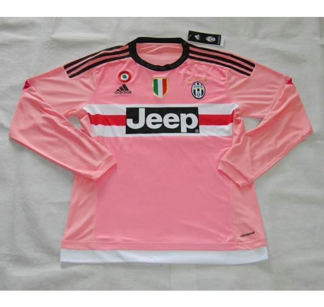 timeless design bb591 d2aeb 15-16 Juventus Away Pink Long Sleeve Jersey Shirt
