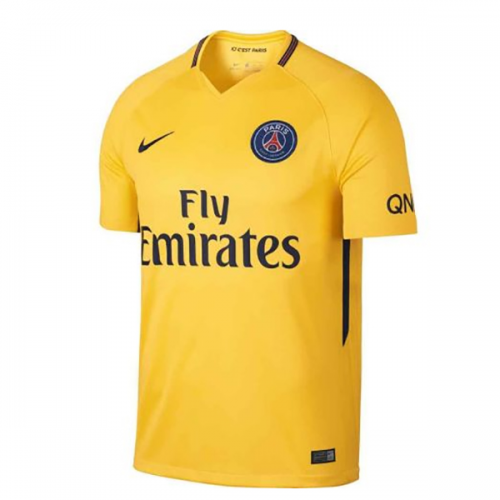 detailed pictures 25afe db7be 17-18 PSG Away Yellow Soccer Jersey Shirt