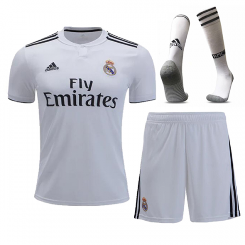 best website 90822 2af10 18-19 Real Madrid Home White Soccer Jersey Whole Kit(Shirt+Short+Socks)