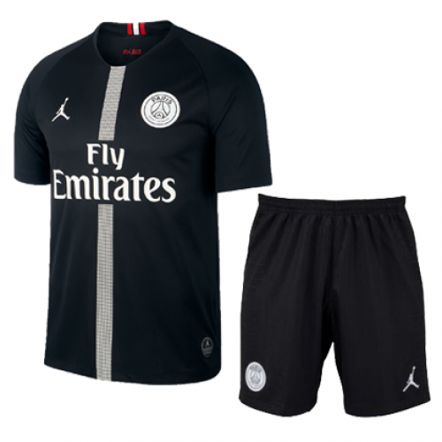 6e45b9992d7 ... 18-19 PSG JORDAN 3rd Away Black Soccer Jersey Kit(Shirt+Short)