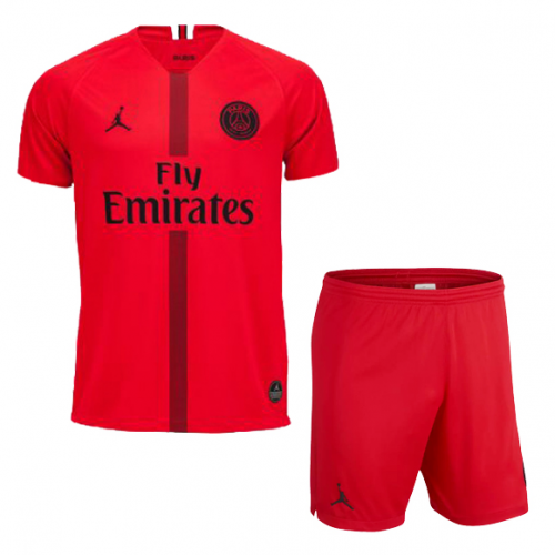 ce792e32f32c39 ... 18-19 PSG JORDAN 3rd Away Goalkeeper Red Soccer Jersey Kit(Shirt+Short