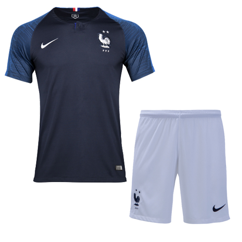 new concept fe512 06013 2018 World Cup France Home Shirt Two Stars Soccer Jersey Kit(Shirt+Short)