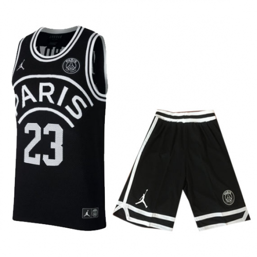 eb031ed9790e ... PSG×JORDAN Jordan  23 Black Basketball Jersey Kit(Shirt+Short)