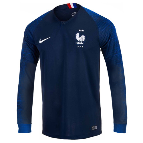 online store 4685e bbd58 2018 World Cup France Home Shirt Two Stars Long Sleeve Soccer Jersey Shirt