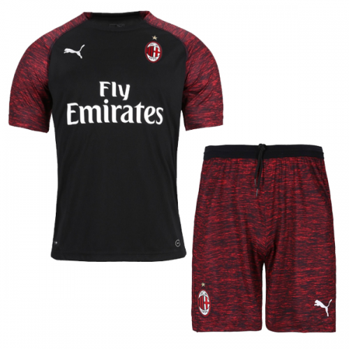 33fbf78b3f4 ... 18-19 AC Milan Third Away Black Soccer Jersey Kit(Shirt+Short)