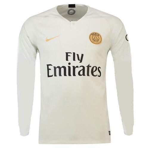 the best attitude 66e4d a14df 18-19 PSG Away White Long Sleeve Soccer Jersey Shirt
