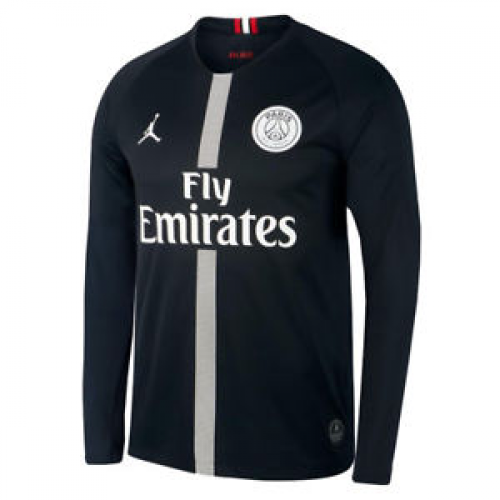 51e813baf7a056 18-19 PSG JORDAN 3rd Away Black Long Sleeve Soccer Jersey Shirt ...