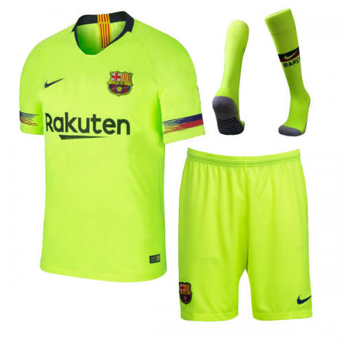 ced51c572e2 18-19 Barcelona Away Green Soccer Jersey Kit(Shirt+Short+Sock ...
