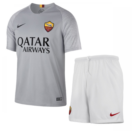 18-19 Roma Away Gray Soccer Jersey Kit(Shirt+Short) - Cheap Soccer ... 0711b52be