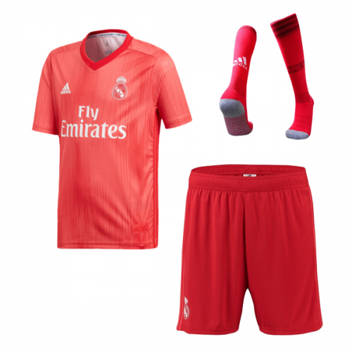 new concept 06060 576bd 18-19 Real Madrid Third Away Red Soccer Jersey Whole Kit(Shirt+Short+Socks)