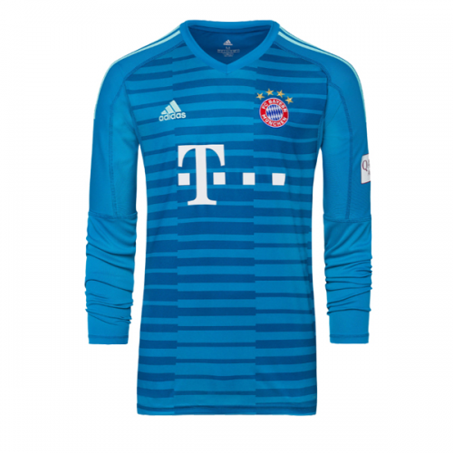 bdb7a2ce80d 18-19 Bayern Munich Blue Long Sleeve Goalkeeper Jersey Shirt - Cheap ...