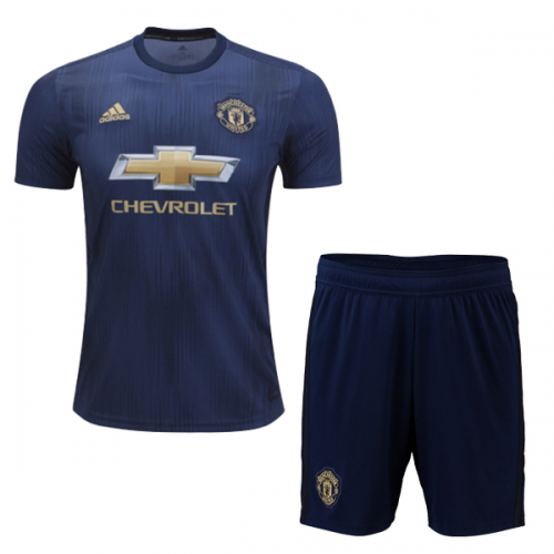 huge selection of 65530 854ca 18-19 Manchester United Third Away Navy Jersey Kit(Shirt+Short)