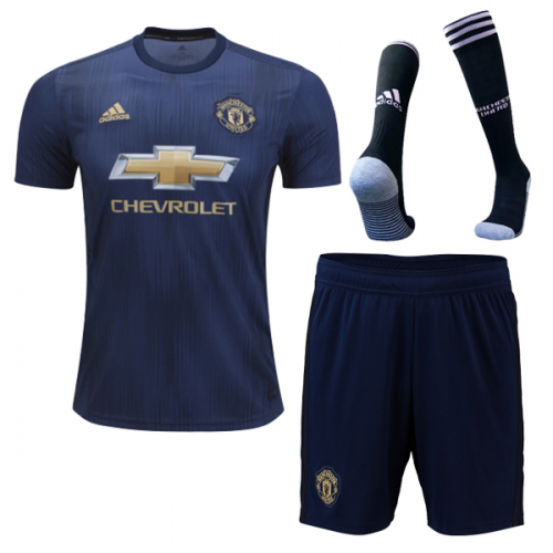 847a89c5086 ... 18-19 Manchester United Third Away Navy Jersey Whole Kit(Shirt+Short+