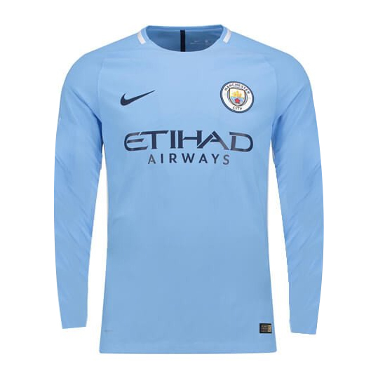 factory authentic e3195 fffd7 17-18 Manchester City Home Long Sleeve Soccer Jersey Shirt