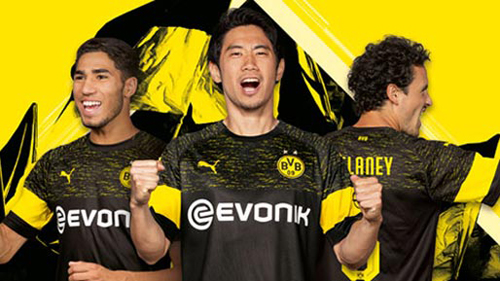 50359ffbe19 the Dortmund 2018-19 away kit sees a yellow band run around the lower left  and right sleeves